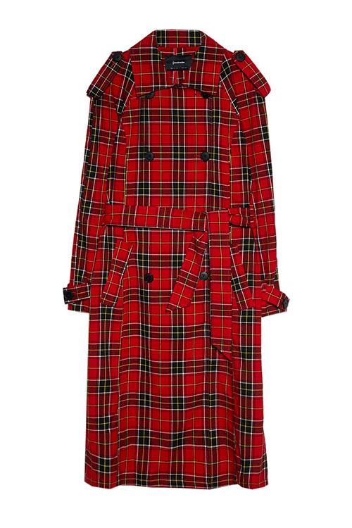 baju tartan dari Stradivarius model double-breasted coat warna merah